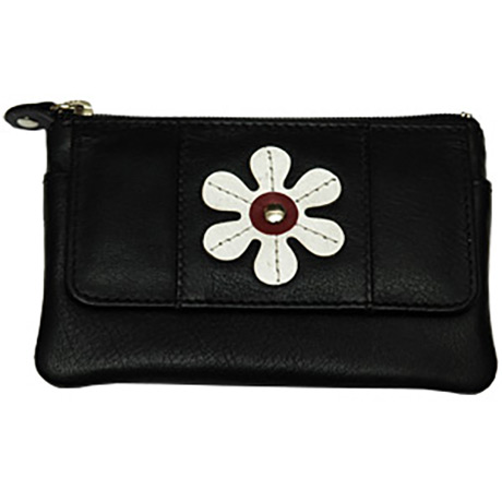 Daisy Coin and Card Purse - Front View - Black